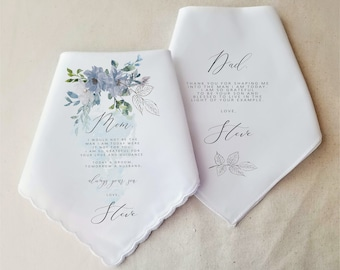 Mother of the Groom Gift, Father of the Groom Gift, Wedding Gift, Wedding Handkerchief, Personalized Gift, Wedding Gift for Parents Blue