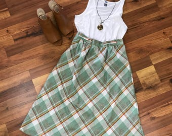 Vtg Womens Wool Diagonal Plaid A Line Skirt