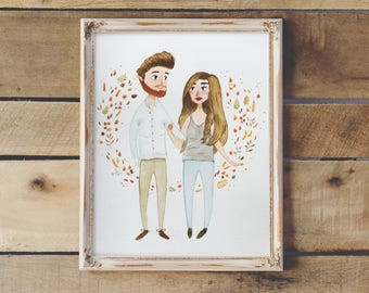 Personalized Custom Couple Portrait From Photo in Watercolor   Portrait for Couples, Custom Wedding Portrait, Custom Family Portrait