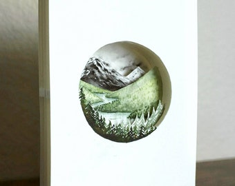3D Watercolor Landscape Cutout | Watercolor Landscape Paper Diorama | Minimalist Watercolor Painting