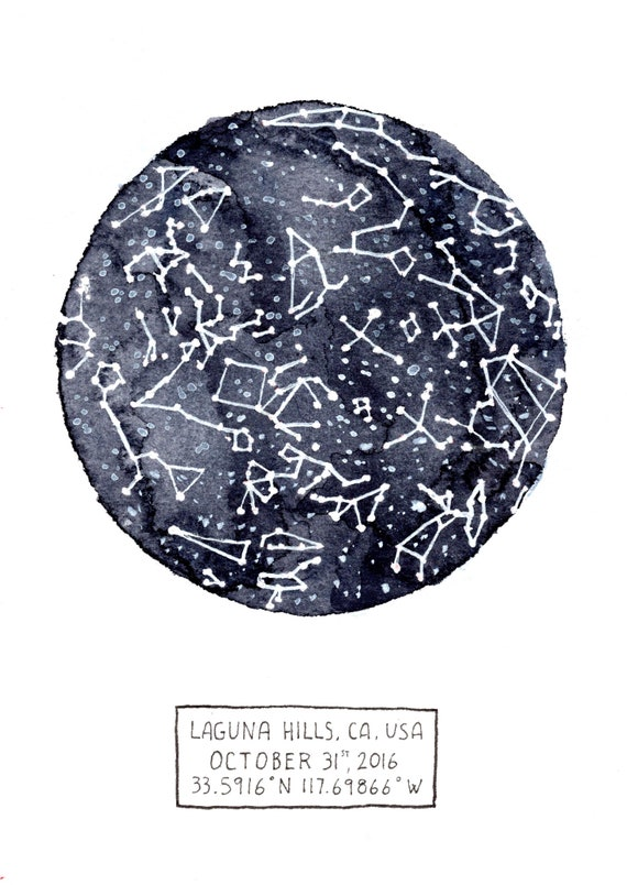 Star Map By Date And Location.Custom Watercolor Star Map Star Map With Date Location And Etsy
