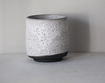 Black and White rustic yunomi teacup