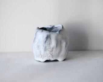 Black and White rustic mini vase