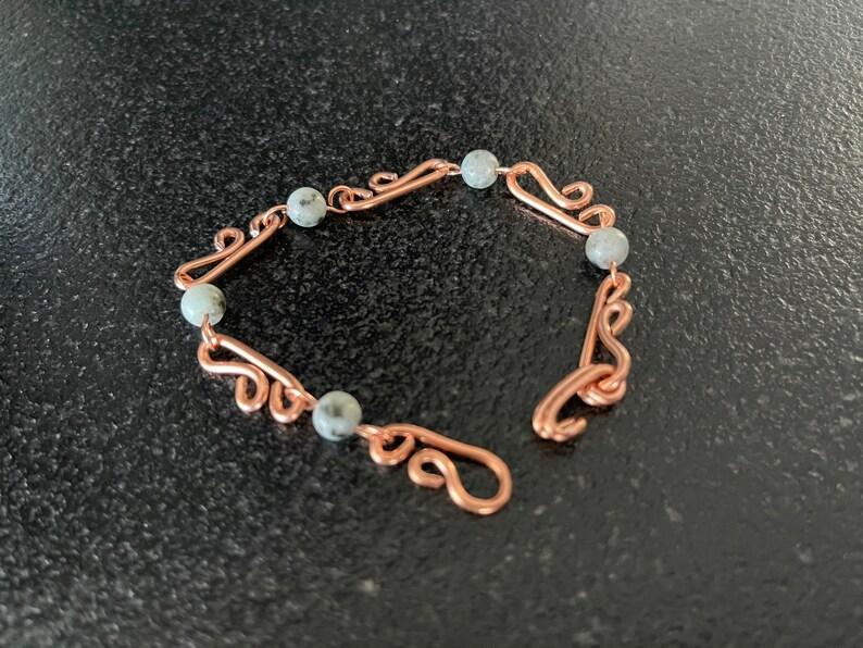 statement bracelet statement jewelry wide copper jewelry sesame Jasper bracelet wire stone bracelet chain copper bracelet link stone chain