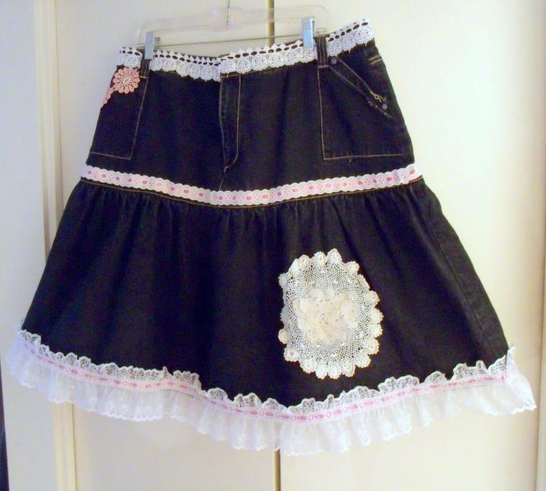 77f665ed1e Plus Size Denim Skirt Upcycled Altered Couture Blue Denim   Etsy
