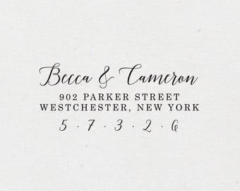 Calligraphy Address Stamp. Self-Inking Stamp. Return Address Stamp. Wooden Mailing Stamp. Self-Inking Address Stamp. Style #43