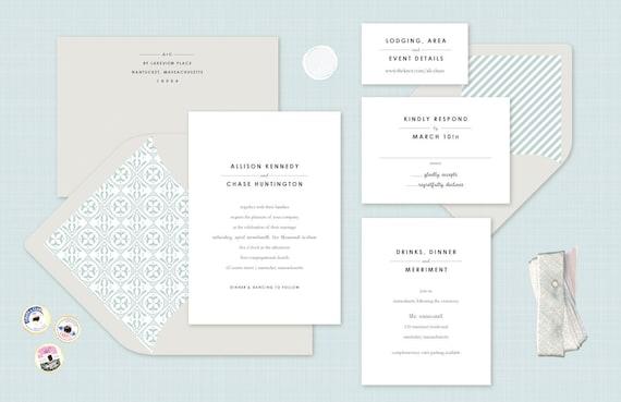 Simple Wedding Invitation In Green Gray Black Modern Etsy