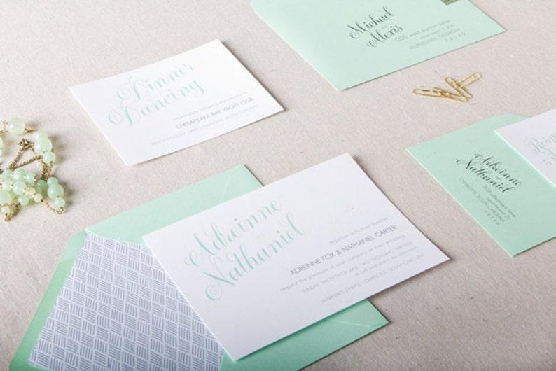 Mint Green Grey Wedding Invitations Mint Green Wedding Etsy