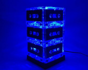 Unique Lighting Blue Cassette Tape Lamp Mixtape Light