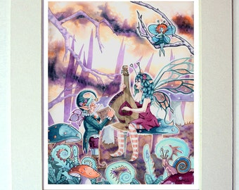 Fairy Watercolor Painting playing music and singing 11 x 14 Matted Fantasy Art Print stringed instrument guiitar
