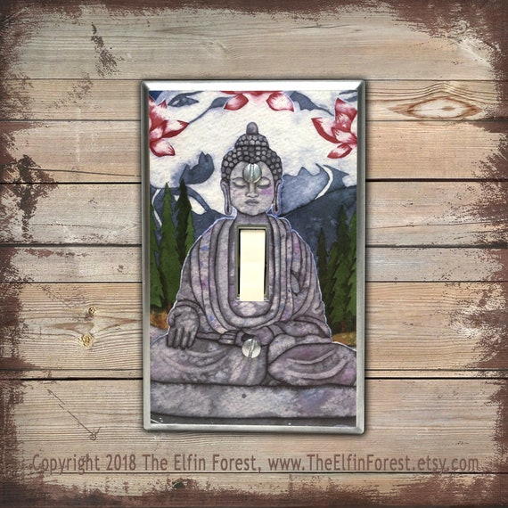 Buddha Light Switch Plate Cover Spiritual Art Buddah Statue Etsy