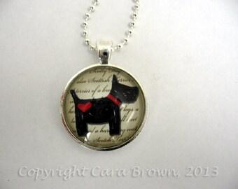Scotty Dog Necklace Valentines Day Art glass pendant Gift Red Black White