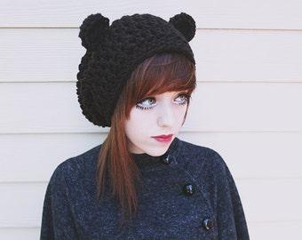 da1c285fd9d Kuma - Handmade Crochet Bear Ear Beanie Bear Beanie Slouchy Beanie Bear Ears