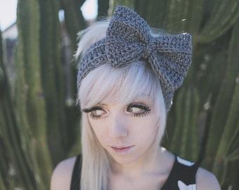 Persephone - Handmade Crochet Bow Headband Crochet Headband Bow Headband