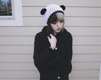Artio - Handmade Crochet Panda Bear Ear Beanie Slouchy Beanie Panda Hat