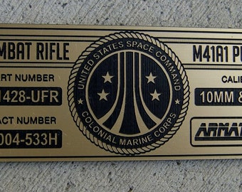 ALIENS M41A1 PULSE Rifle Specifications ID Plate Prop Armat