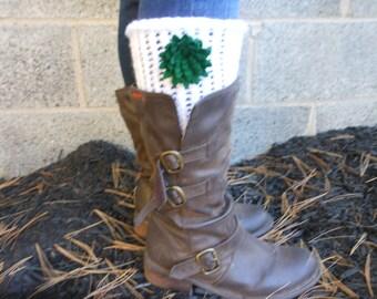 Knit Boot Cuffs, Flower Boot Socks, Green Felt Flower Boot Cuffs, White Boot Cuffs, Flower Leg Warmers