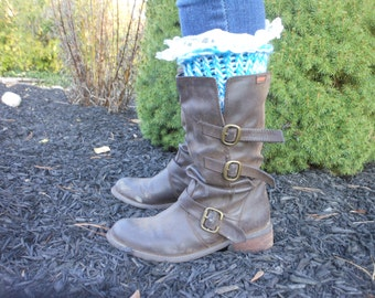 Knitted Lace Boot Cuffs Leg Warmers Lace Boot Toppers Turquois White Knit Boot Cuffs Lace Boot Socks