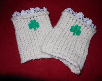 Shamrock Boot Socks, Saint Patrick's Day Ivory Felt Shamrock Knit Boot Cuffs, Lace Shamrock Boot Socks, Irish Ivory Boot Cuffs, Shamrock