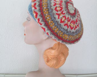 d6c5160ee1c0e Hand Knit Fair Isle Beret Pure Wool Made to Order Vintage Style Tam