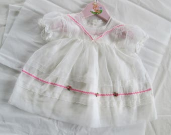 51170bd1b97 Vintage Baby Dress and Slip Sheer Organdy White Size 9M to 12M 1950s Baby  Girl