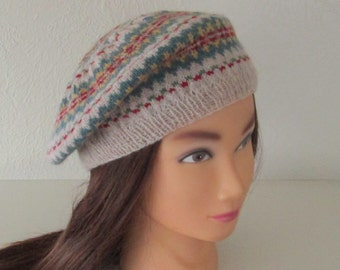924c88c11edaa Hand Knit Beret in Fair Isle 1940 Vintage Style Made to Order Pure Wool