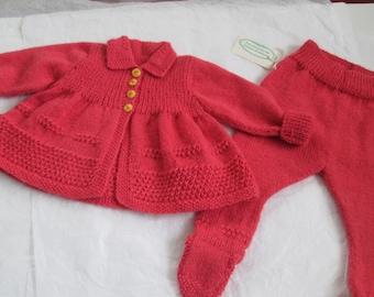 Hand Knit Baby Sweater Leggeings Pram Suit Alpaca Wool Ready to Ship 6-9M