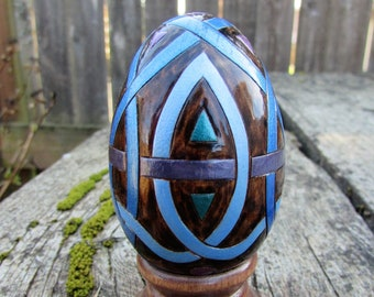 Wooden Egg with Celtic Knotwork Pyrography Wood Burning