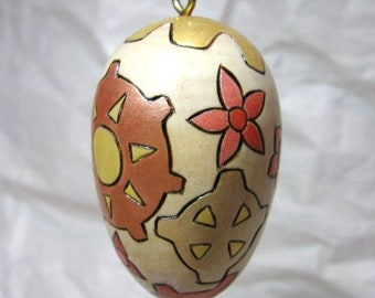 Wood Egg Ornament with Flowers and Gears OOAK Pyrography Wood Burning