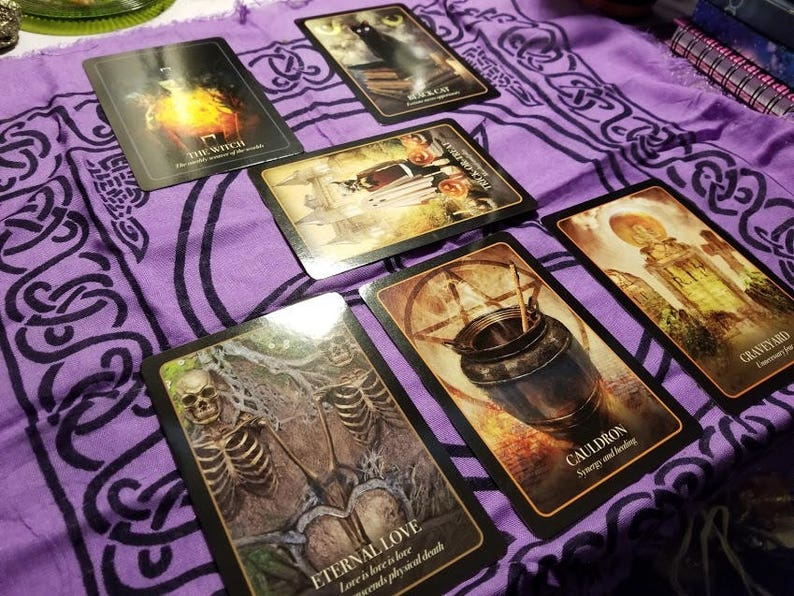 The Jack-O/'-Lantern Divination Layout The Halloween Oracle Samhain Reading 6 Card NOT PHYSICAL ITEM