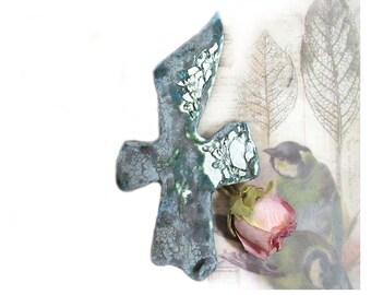 textured cross - gift cross - handmade ceramic cross - OOAK cross -  art wall cross -  # 86