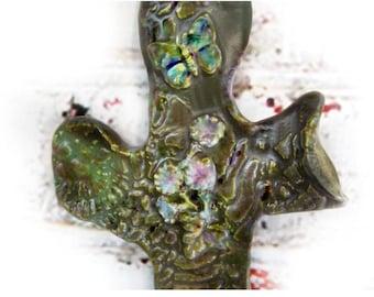 wall hanging Christian cross  - Religious wall cross - cross wall hanging - one of a kind wall cross - pottery cross - ceramic cross- # 113