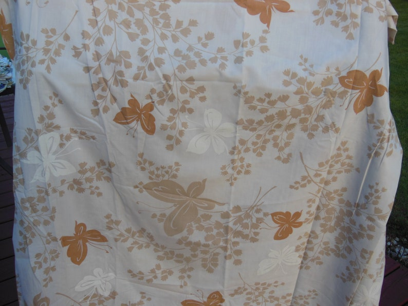retro vintage sheet butterfly Vintage tan flat full size or double sheet with butterflies and leaves flat sheet,