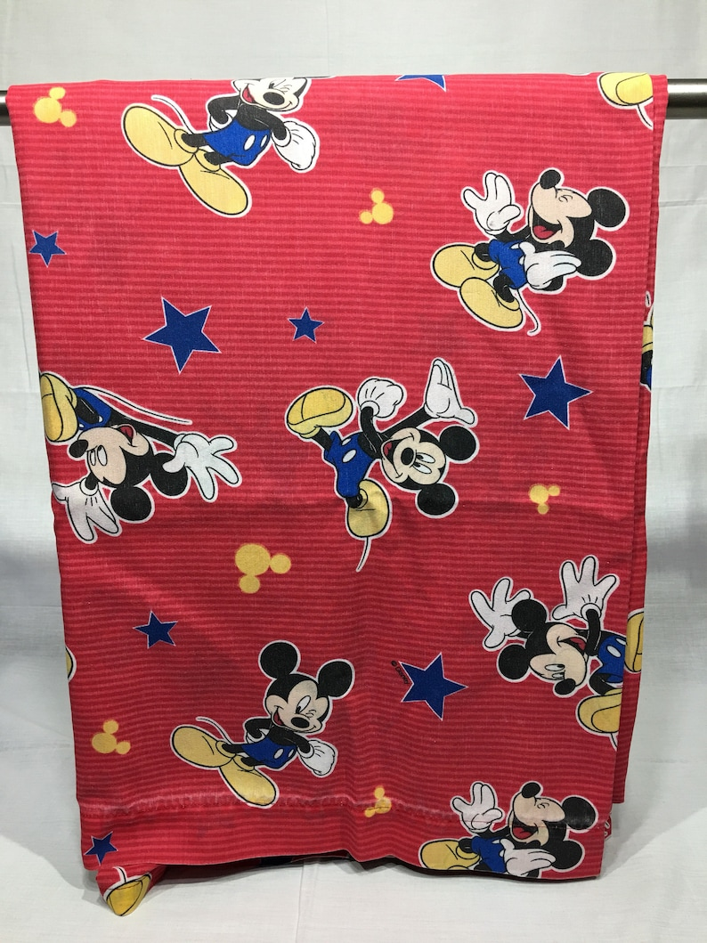 Disney Mickey Mouse Sheet retro Mickey Mouse red stripes red Disney Vintage Twin flat Mickey Mouse sheet