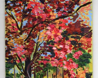 Japanese Maple at Tower Grove Park. Original Oil Painting.