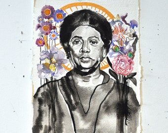 Audre Lorde. Original Ink and Watercolor.