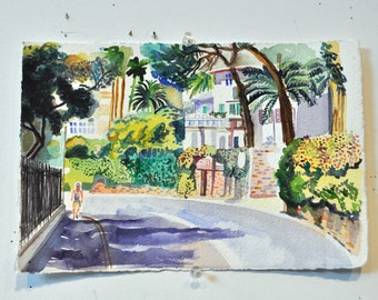 The Pleasures of Walking. Original Watercolor on heavy watercolor paper.