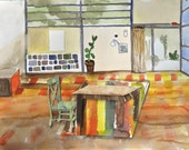 Eames Inspired Modern Interior. Original Watercolor Painting.