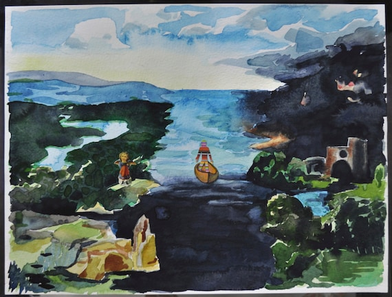 Study Of Charon Crossing The River Styx Original Watercolor