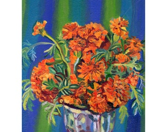 Marigolds with blue and green stripes. Limited Edition Print.