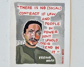 Trevor Noah. Original Gouache Painting.