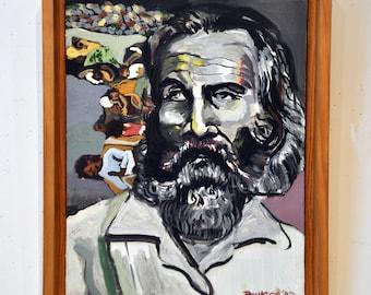 Walt Whitman. Framed Oil Painting on Canvas.