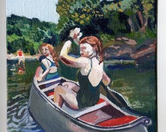 Canoe Trip. Original oil painting.