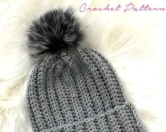 Crochet PATTERN - Crochet Hat Pattern - Easy Crochet Pattern - Crochet Beanie Pattern - Ribbed Crochet Hat - Slouchy - 6 Sizes -  PDF 455