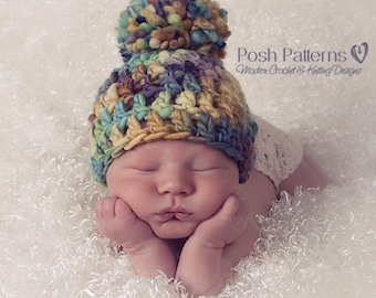 CROCHET Pattern - Crochet Hat Pattern - DIY Crochet Beanie - Baby Hat Crochet Pattern - Baby to Adult Sizes - Photo Prop Pattern - PDF 225