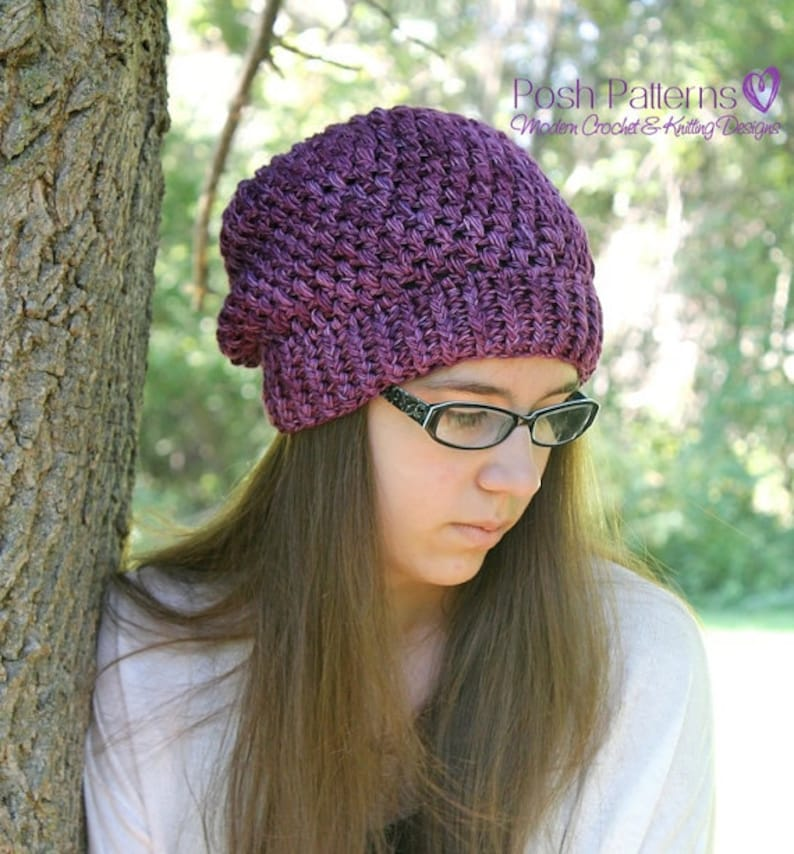 74513cb7ddd Crochet PATTERNS Slouchy Hat Crochet Pattern Crochet