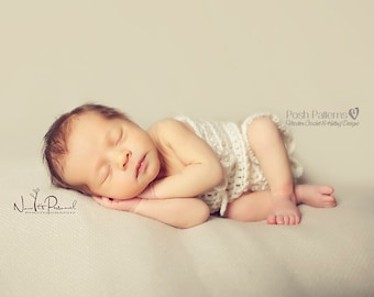 Crochet PATTERN - Crochet Baby Romper Onesie Pattern - Includes 5 Sizes Newborn to  24 Months - PDF 342 - Photo Prop Pattern