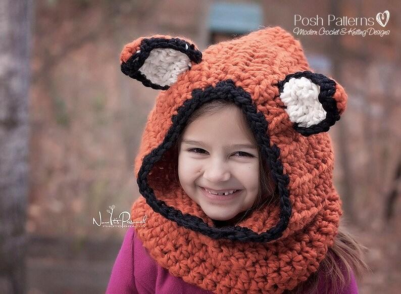 Crochet PATTERNS Fox Hat Crochet Pattern Fox Hood Crochet Pattern  e6e9a41f1487