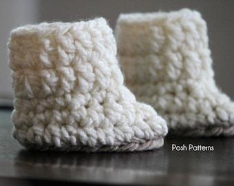 Crochet PATTERN - Crochet Baby Boots Pattern - Baby Booties Crochet Pattern - 2 Sizes Newborn to 12 Months - Photo Prop Pattern - PDF 131