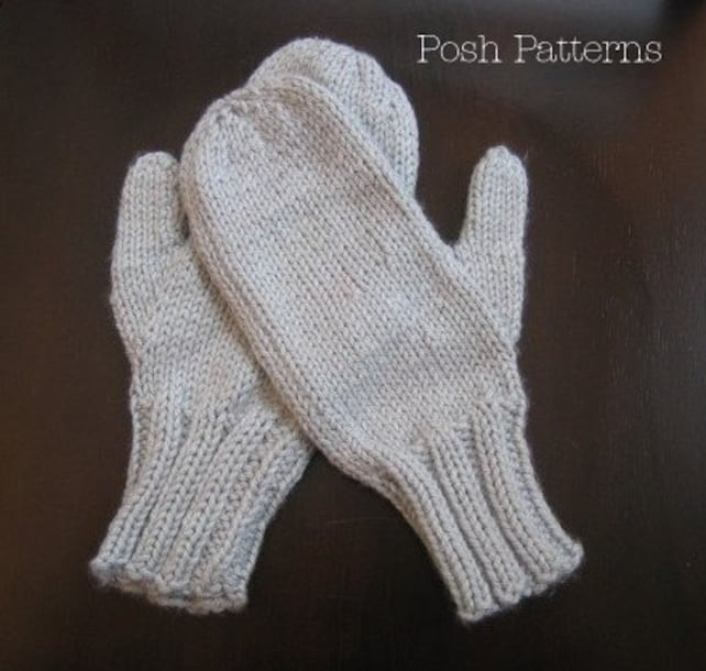 Knitting Patterns Easy Two Needle Mittens Pattern Mittens Etsy